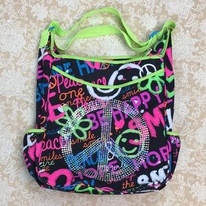 Justice Colorful Peace Tote Crossbody Bag